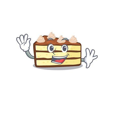 Waving friendly chocolate slice cake mascot design style