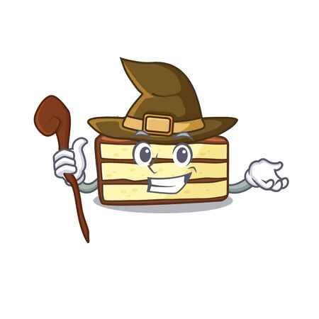 a mascot concept of chocolate slice cake performed as a witch