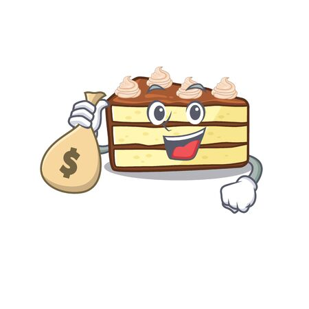 Rich and famous chocolate slice cake cartoon character holding money bag