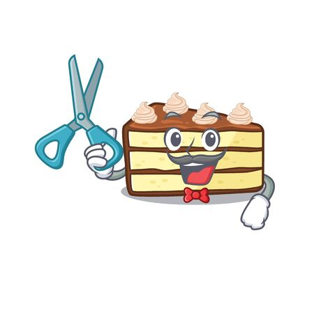 Cartoon character of Sporty Barber chocolate slice cake design style