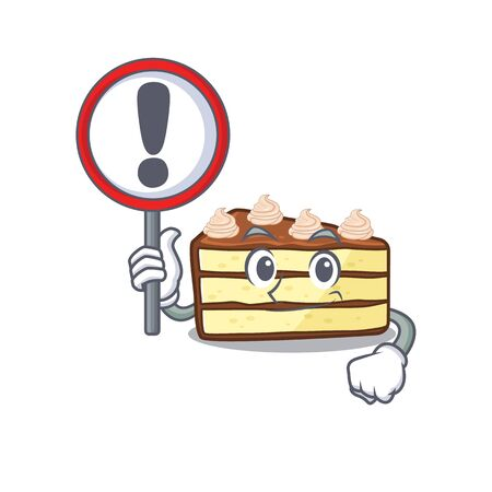 cute mascot character style of chocolate slice cake raised up a sign