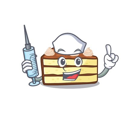 A chocolate slice cake hospitable Nurse character with a syringe