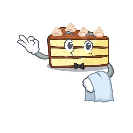 Sweet chocolate slice cake Character working as a Waiter Stock Illustratie