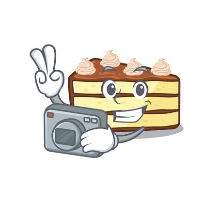 Cool Photographer chocolate slice cake character with a camera. Vector illustration