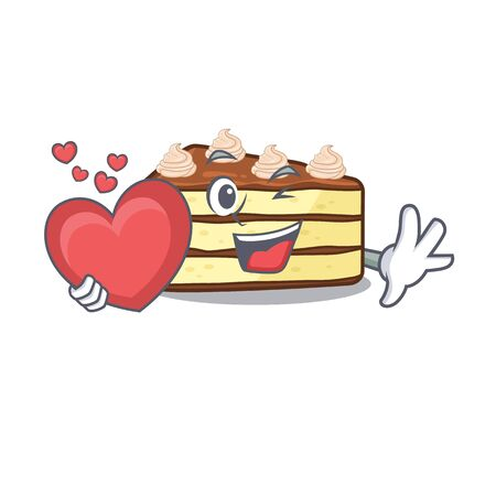 Romantic chocolate slice cake cartoon picture holding a heart