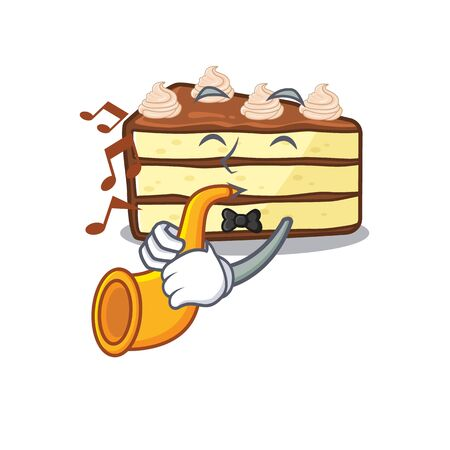 mascot design concept of chocolate slice cake playing a trumpet Stock Illustratie