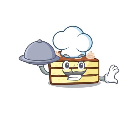 A picture of chocolate slice cake as a Chef serving food on tray