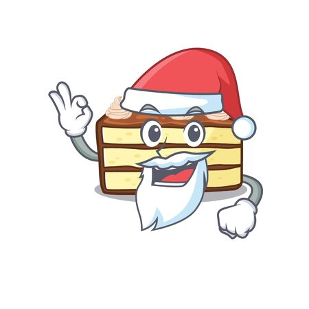 Chocolate slice cake in Santa cartoon character style with ok finger