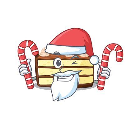 Chocolate slice cake Cartoon character wearing Santa costume bringing a candy Stock Illustratie