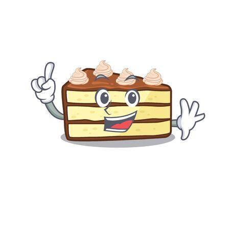 mascot cartoon concept chocolate slice cake in One Finger gesture