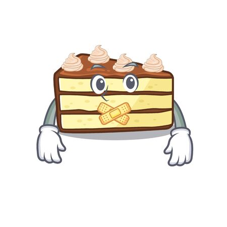 cartoon character design chocolate slice cake making a silent gesture Stock Illustratie