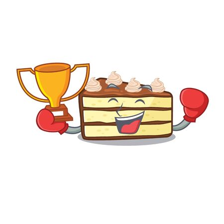 fantastic Boxing winner of chocolate slice cake in mascot cartoon design Stock Illustratie