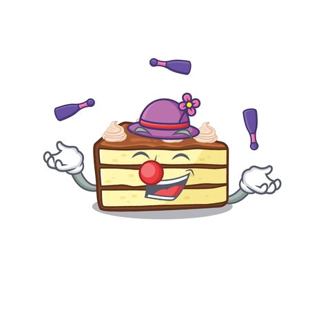 a lively chocolate slice cake cartoon character design playing Juggling