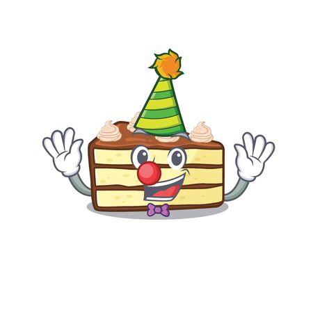 Funny Clown chocolate slice cake cartoon character mascot design