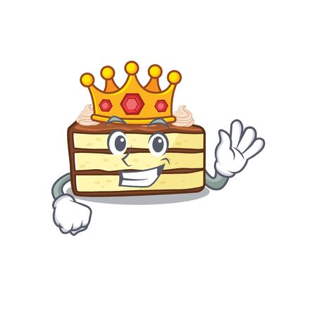 A cartoon mascot design of chocolate slice cake performed as a King on the stage Stock Illustratie