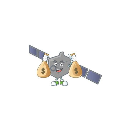 A cute image of satellite network cartoon character holding money bags