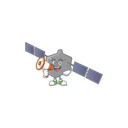 A chilly cartoon character of satellite network with a megaphone Illustration