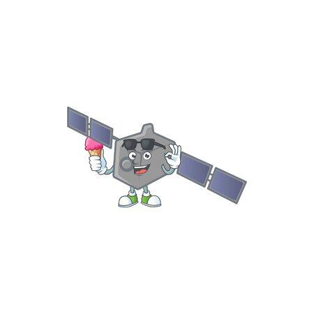 Satellite network mascot cartoon style eating an ice cream