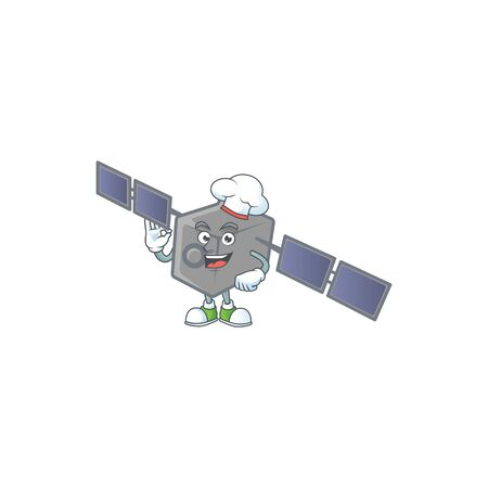 Satellite network cartoon character in a chef dress and white hat