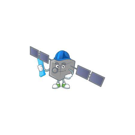 Elegant Architect satellite network having blue prints and blue helmet