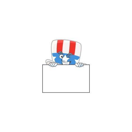 Uncle sam hat cartoon character with funny face hides behind a board. Vector illustration