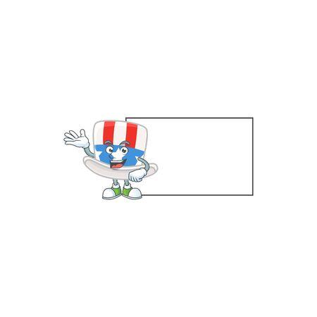 Cheerful uncle sam hat mascot style design with whiteboard Ilustração