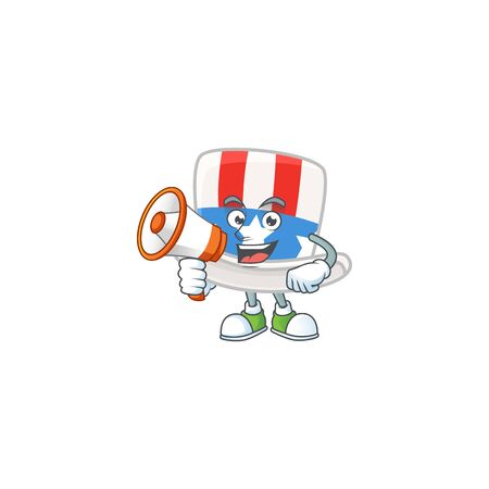 A chilly cartoon character of uncle sam hat with a megaphone