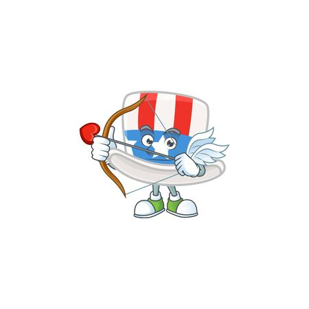 A lovely uncle sam hat Cupid with arrow and wings Ilustração