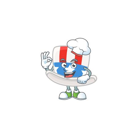 Uncle sam hat cartoon character in a chef dress and white hat