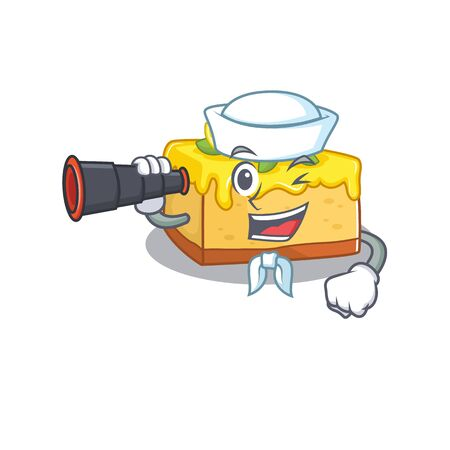 A picture of lemon cheesecake working as a Sailor with binocular. Vector illustration