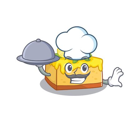 A picture of lemon cheesecake as a Chef serving food on tray. Vector illustration
