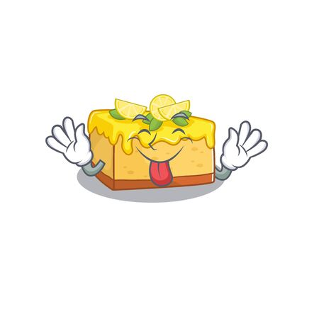 Funny lemon cheesecake mascot design with Tongue out. Vector illustration