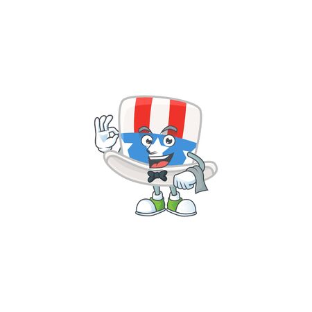 A uncle sam hat cartoon mascot working as a Waiter. Vector illustration