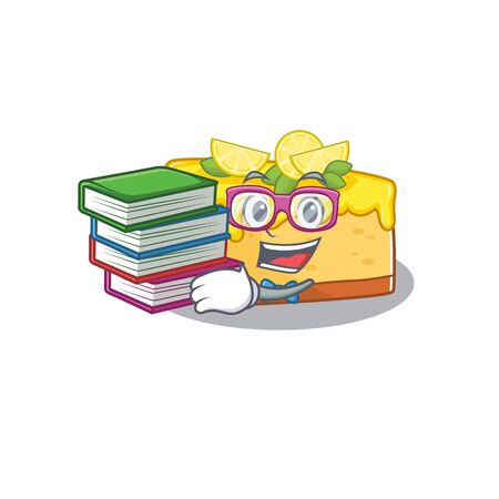 mascot cartoon of lemon cheesecake studying with book. Vector illustration