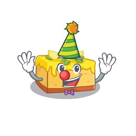 Funny Clown lemon cheesecake cartoon character mascot design. Vector illustration