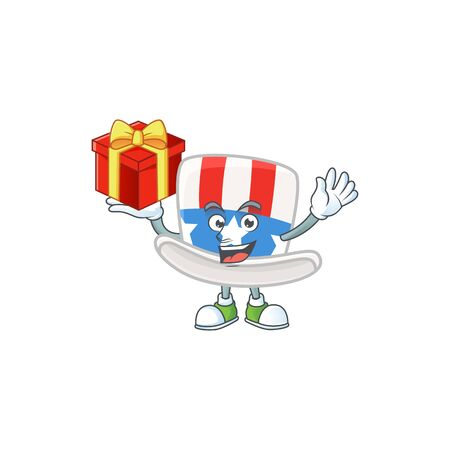 cartoon character of uncle sam hat with a box of gift