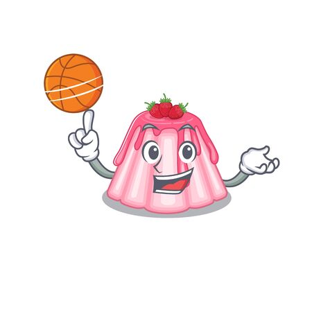 A mascot picture of strawberry jelly cartoon character playing basketball. Vector illustration