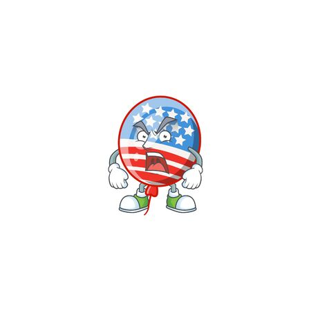 USA stripes balloon cartoon character design with angry face. Vector illustration