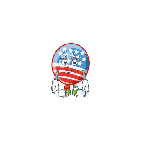 Cartoon character of a USA stripes balloon having an afraid face. Vector illustration