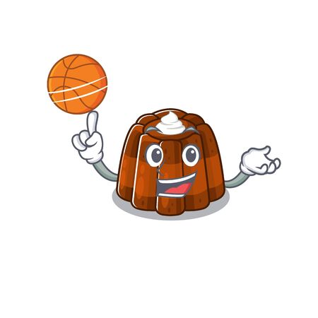 A mascot picture of chocolate pudding cartoon character playing basketball