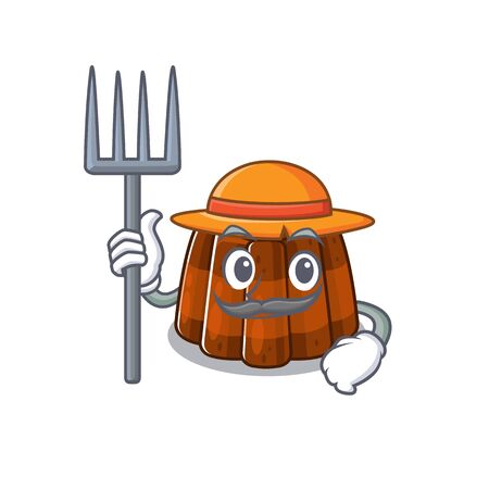 Happy Farmer chocolate pudding cartoon picture with hat and tools