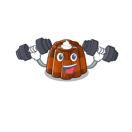 Sporty Fitness exercise chocolate pudding mascot design using barbells