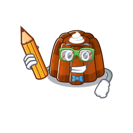 A smart Student chocolate pudding character holding pencil