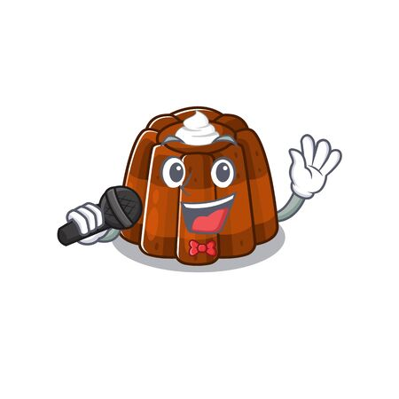Happy chocolate pudding singing on a microphone. Vector illustration Stock Illustratie