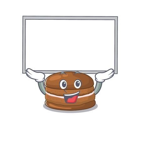 A chocolate macaroon mascot picture raised up board