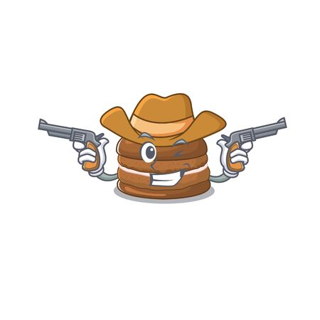 Chocolate macaroon Cowboy cartoon concept having guns