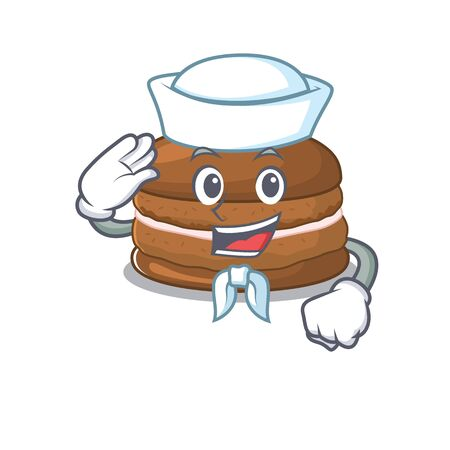 Chocolate macaroon cartoon concept Sailor wearing hat