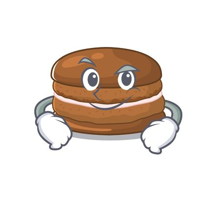 Cool chocolate macaroon mascot character with Smirking face Illustration