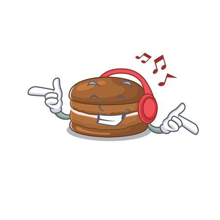 Listening music chocolate macaroon cartoon character concept