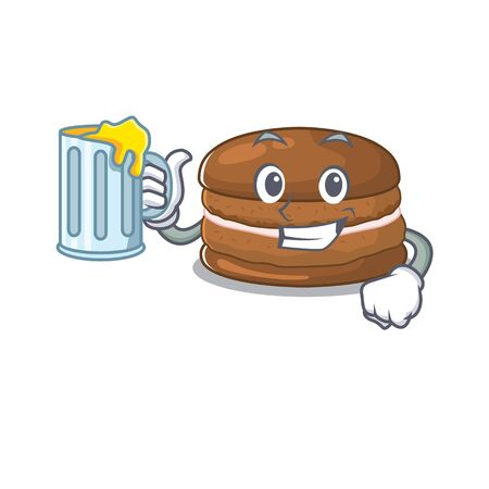 Smiley chocolate macaroon mascot design with a big glass